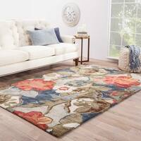 Clemente Handmade Floral Multicolor/ Gray Area Rug (5' X 8') - 5' x 8'