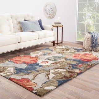 Handmade Floral Pattern Blue/ Red Wool/ Art Silk Rug (3'6 x 5'6)