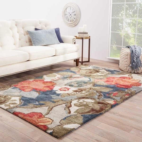 Shop Clemente Handmade Floral Multicolor Gray Area Rug 8
