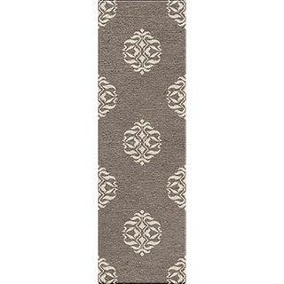 Handmade Tribal Pattern Gray/ Ivory Wool Rug (2'6 x 8)
