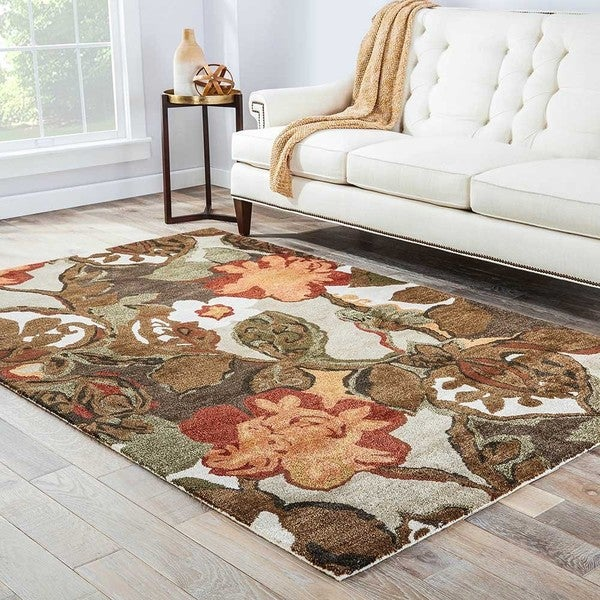 Clemente Handmade Floral Light Gray/ Multicolor Area Rug (8' X 10')