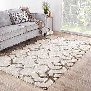 "Stellan Handmade Geometric Gray/ Beige Area Rug (9' X 12') - 8'10"" x 11'9"""