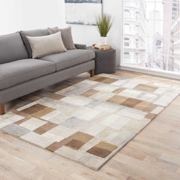 Calix Handmade Geometric Brown/ Gray Area Rug (5' X 8') - 5' x 8'