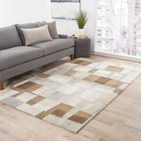 Calix Handmade Geometric Brown/ Gray Area Rug (8' X 10') - 8' x 10'