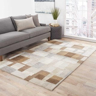 Calix Handmade Geometric Brown/ Gray Area Rug (9' X 12')