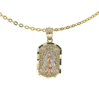 14k Tri-color Gold Guadalupe Pendant with Chain Necklace