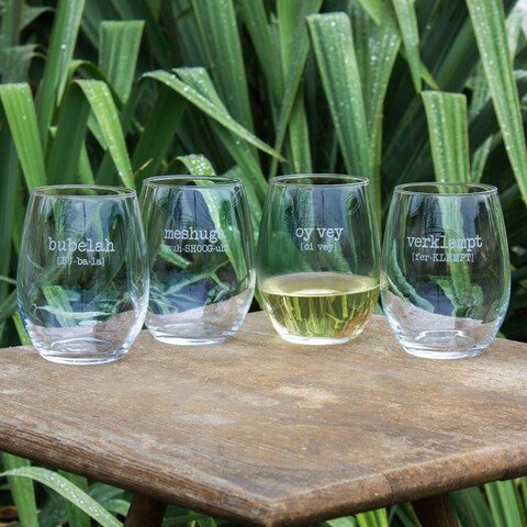 Yiddish Words Vol. 1 Stemless Wine Glasses (Set of 4)