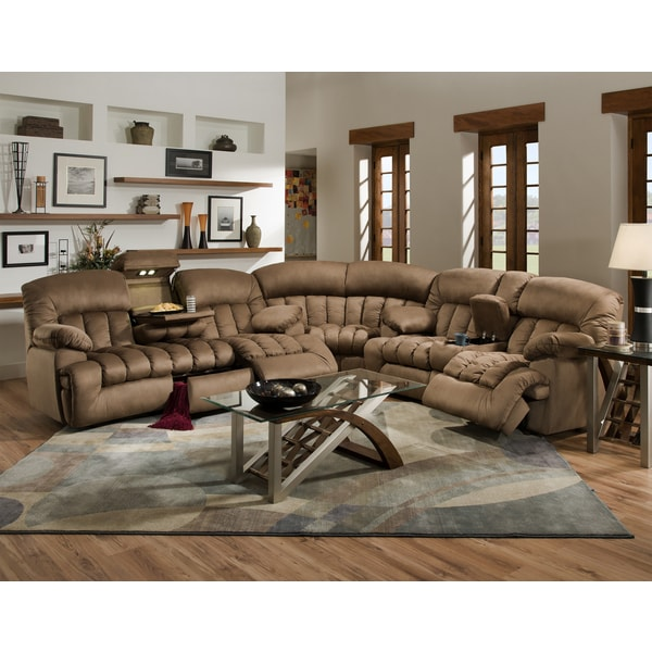 Shop Carrington Motion Brown Plush Mink 3 Piece Sectional