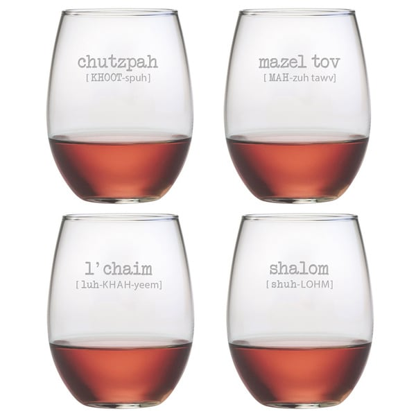 29801338017 Shop Jewish Words Vol. 2 Stemless Wine Glasses (Set of 4) - On Sale - Free  Shipping Today - Overstock - 8572568