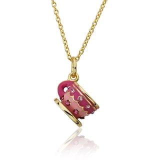 Molly Glitz 14k Gold Plated Pink Tea Cup Pendant Necklace