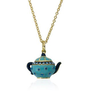 Molly Glitz Gold Plated Light Blue Crystal Tea Pot Pendant Necklace