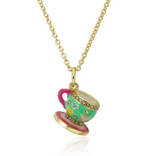 Molly Glitz 14k Gold Plated Mint Green Tea Cup Pendant Necklace
