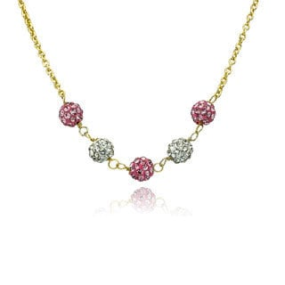 Molly Glitz 14k Gold Plated Alternating Pink and White Small Crystal Balls Necklace