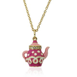 Molly Glitz Gold Plated Pink Tea Pot Pendant Necklace|https://ak1.ostkcdn.com/images/products/8572596/Molly-Glitz-14k-Gold-Plated-Pink-Tea-Pot-Pendant-Necklace-P15847122.jpg?impolicy=medium
