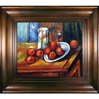 Paul Cezanne 'Bricoo, Bicchiere e Piato' Hand Painted Framed Canvas Art