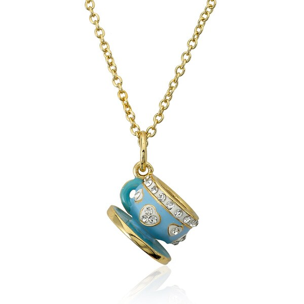 Molly Glitz 14k Gold Plated Blue Tea Cup Pendant Necklace