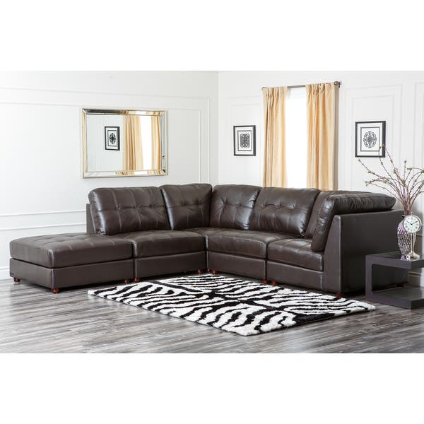 Wondrous Shop Abbyson Sonoma Top Grain Leather Modular Sectional Sofa Gmtry Best Dining Table And Chair Ideas Images Gmtryco