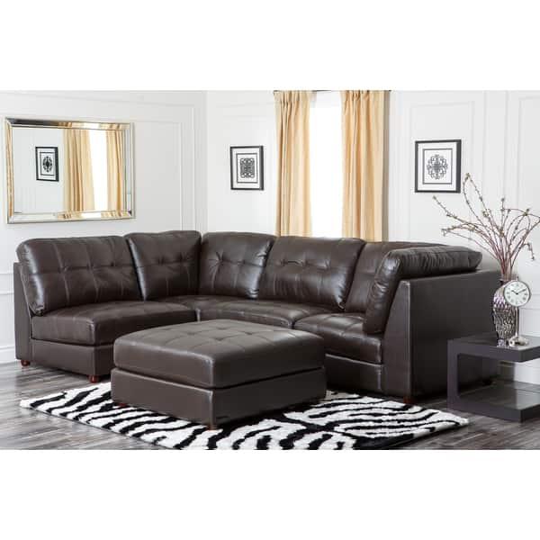 Shop Abbyson Sonoma Top Grain Leather Modular Sectional Sofa ...