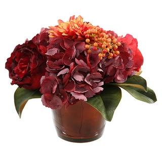 Rose/ Hydrangea 10-inch Centerpiece in Glass Vase