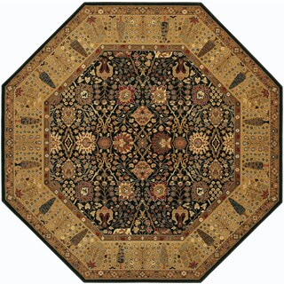 Bellagio Floral Traditions Black/Deep Maple Octagon Wool Area Rug - 4'6 x 4'6