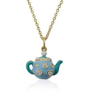 Molly Glitz 14k Goldplated Children's White Enamel Hearts and Light Blue Crystal Trimmed Tea Pot Necklace