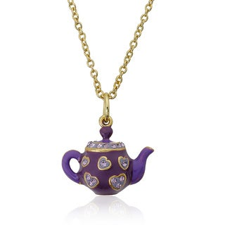 Molly Glitz 14k Goldplated Children's Lavender Enamel Hearts and Purple Crystal Trimmed Tea Pot Necklace