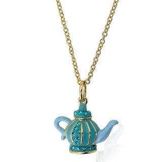 Molly Glitz 14k Goldplated Children's Aqua and Light Blue Tea Pot Crystal Accent Necklace