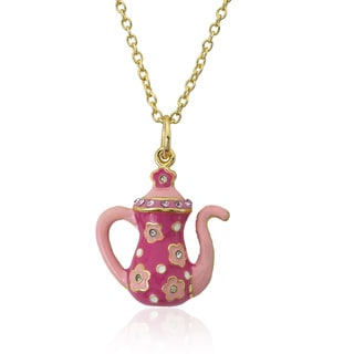 Molly Glitz 14k Goldplated Children's Pink and Hot Pink Crystal Trimmed Flower Tea Pot Necklace