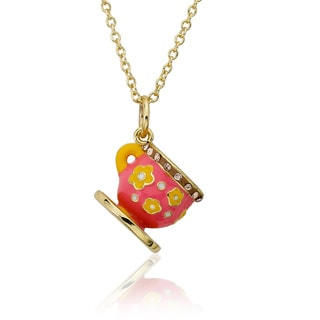 Molly Glitz 14k Goldplated Children's Yellow and Coral Crystal Accent Tea Cup Necklace