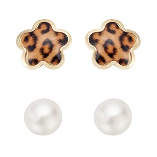 Pearlyta 14K Children Freshwater Pearl Enamel Flower Stud Earring Set (4-5 mm) with Gift Box