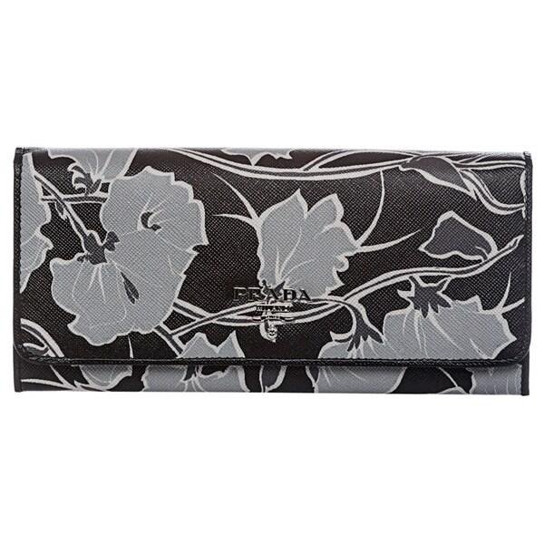 61445057f2fb7e Shop Prada 1M1132 ZNL F0PPK Floral Print Saffiano Continental Wallet ...