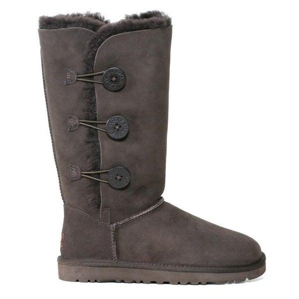 Ugg Women's 'Bailey' Chocolate Sheepskin Button Triplet Boots (Size 6)