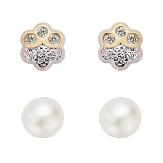Pearlyta 14k Gold White Pearl and Cubic Zirconia Flower Stud Earring Set (4-5 mm) with Gift Box