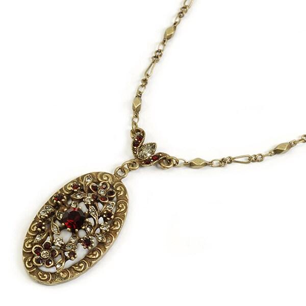 Sweet Romance Victorian Garnet Crystal Ruby Vintage Heart Necklace