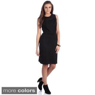 Amelia Women's Black Leopard Yoke Pleated Bodice Dress