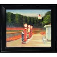Edward Hopper 'Gas' Hand Painted Framed Canvas Art