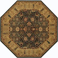 "Bellagio Floral Traditions Black/Deep Maple Octagon Wool Area Rug - 7'10"" x 7'10"""