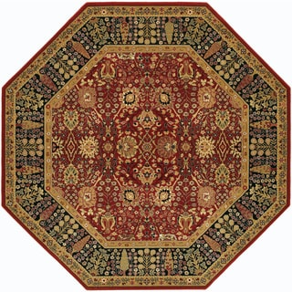Power-Loomed Bellagio Floral Traditions Persian Red Semi-Worsted New Zealand Wool Rug (4'6 Octagon)