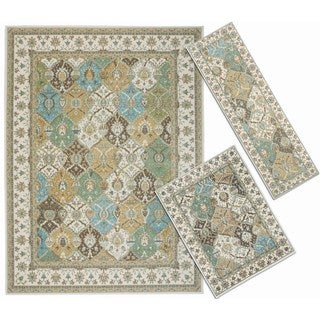 Nourison Assorted Diamonds Collection Beige and Blue 3-piece Rug Set