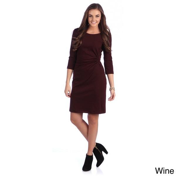 Amelia Women's Gathered Waist Short Sleeve Sheath Dress