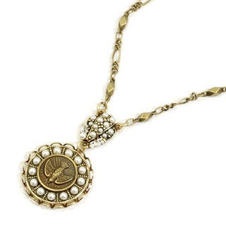 Sweet Romance Vintage Bird Coin and Pearl Pendant Necklace