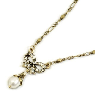 Sweet Romance Vintage Bow and Pearl Victorian Wedding Necklace
