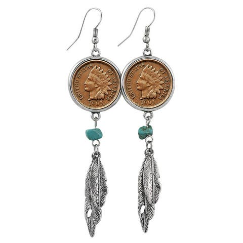 100 Year Old Indian Head Penny Feather Silvertone Earrings