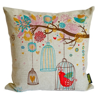 Birds Feather-filled Decorative Throw Pillow