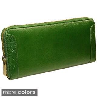 Castello Italian Leather Zip Around Long Wallet