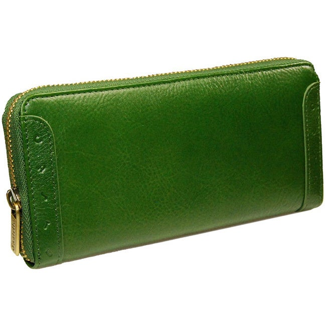 Castello Italian Leather Zip Around Women/'s Clutch Wallet