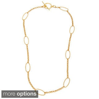 Simon Frank Brass 24-inch Beaded Oval and Round Cosmo Link Chain Necklace