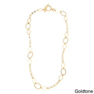 Simon Frank 14k Gold Overlay 24-inch Oval Link Ashanti Chain Necklace
