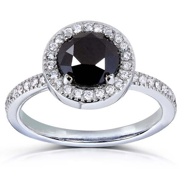 Annello by Kobelli 14k Gold 1 7/8 ct TDW Black and White Diamond Halo Ring (H-I, I1-I2)