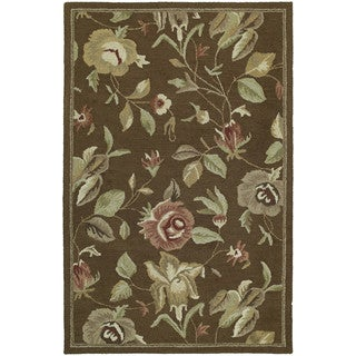 "Hand-Tufted Lawrence Brown Floral Wool Rug (7'6 x 9') - 7'6"" x 9'"